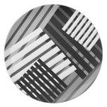 Placa gris blanca negra abstracta del modelo de la plato para fiesta
