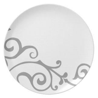 Placa (gris) de la marfil del cirro plato de comida