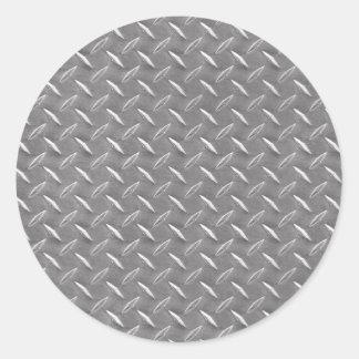 Placa gris del diamante pegatina redonda