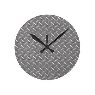 Placa gris del diamante reloj redondo mediano