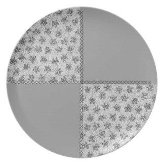 Placa gris del remiendo del humo retro de las viol platos