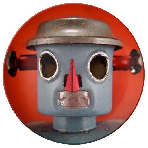 Placa gris del robot platos de cerámica