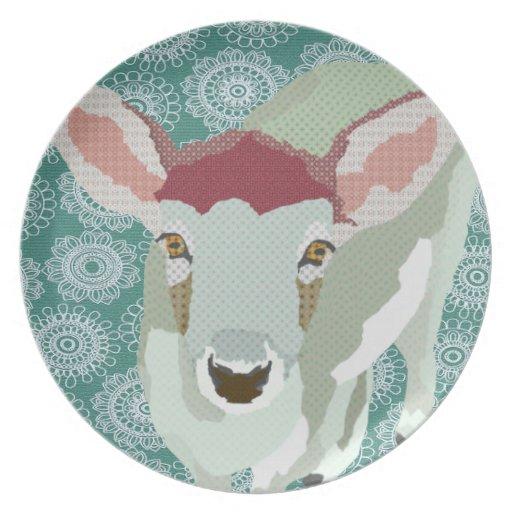 Placa gris del verde del arte del cervatillo plato para fiesta