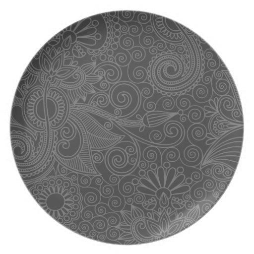 Placa gris floral del vintage plato de comida