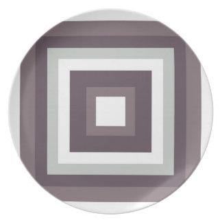 Placa gris y blanca de la melamina plato