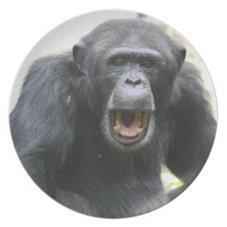 Placa habladora del chimpancé platos de comidas