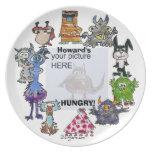 Placa hambrienta del personalizado de los monstruo plato de comida