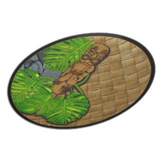 Placa hawaiana 02 de Tiki Lauhala Plato De Cena