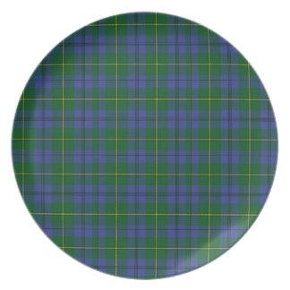 Placa hermosa de la tela escocesa de tartán de Joh Plato De Cena