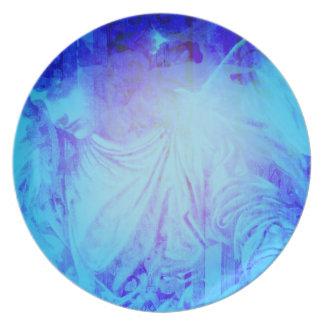 Placa hermosa del ángel azul plato de cena