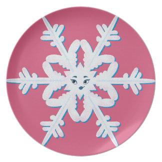 Placa hermosa del copo de nieve platos para fiestas