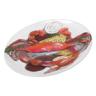 Placa hervida de los cangrejos plato para fiesta