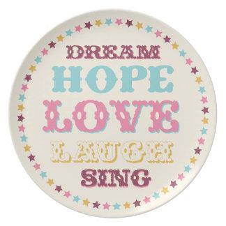 Placa ideal de la esperanza del amor de las palabr plato para fiesta