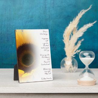 Placa ideal de la foto del poema del girasol