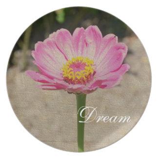 Placa ideal rosada de la flor del Zinnia Platos