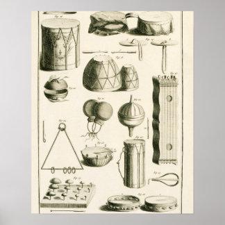 Placa II: Instrumento de percusión antiguo y moder Póster