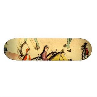 Placa india americana primitiva del arte popular d patinetas personalizadas