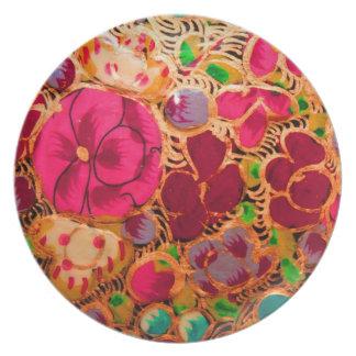 Placa india de la textura platos de comidas