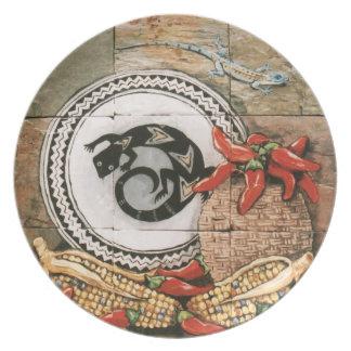 Placa india del diseño de Mimbres con el lagarto,  Plato Para Fiesta