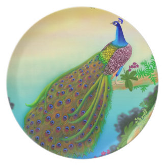 Placa india exótica del pavo real plato
