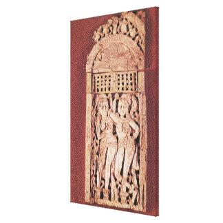 Placa india tallada impresión en lienzo