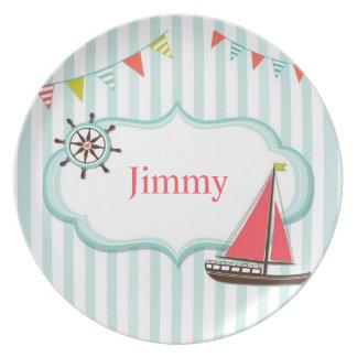 Placa infantil del barco de navegación platos para fiestas