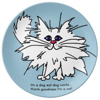 Placa ingeniosa del gatito - es un perro come el platos de cerámica