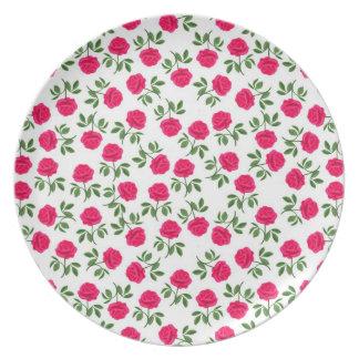 Placa inglesa de los rosas de té platos de comidas