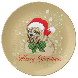 Placa inglesa del navidad de la porcelana del dogo plato de cerámica