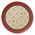 Placa inglesa vieja del Equestrian de los pedazos Plato De Comida