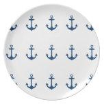 Placa inspirada náutica de los azules marinos lind platos para fiestas