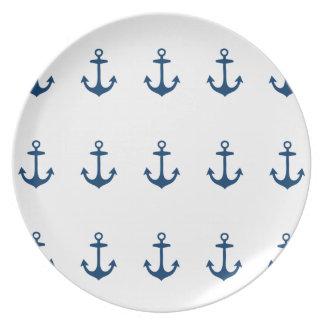 Placa inspirada náutica de los azules marinos platos de comidas
