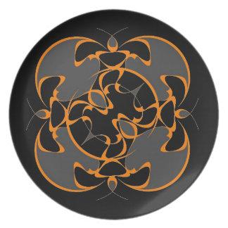 Placa inspirada oriental en negro platos de comidas