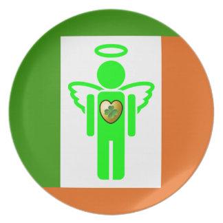 Placa irlandesa del ángel plato de cena