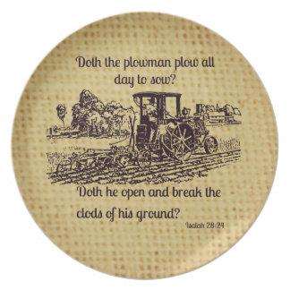 Placa Isaías 28 del granjero del vintage 24 Plato De Comida