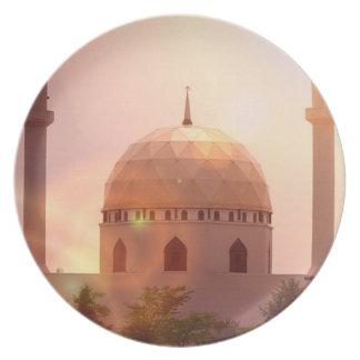 Placa islámica de la mezquita plato de comida