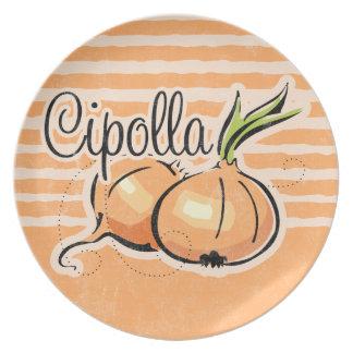 Placa italiana de la cebolla platos de comidas