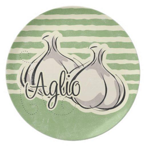 Placa italiana del ajo plato para fiesta