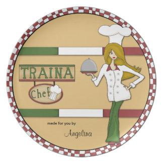 Placa italiana del cocinero platos de comidas