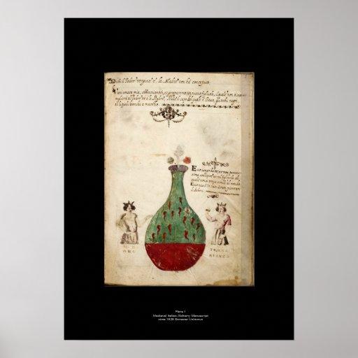 Placa italiana medieval 1 del poster de la póster