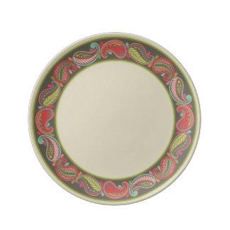 Placa IV de la porcelana de Paisley Cyngalese Plato De Cerámica