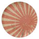 Placa japonesa de la bandera del sol naciente retr platos