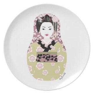 Placa japonesa de Matryoshka del geisha Plato Para Fiesta