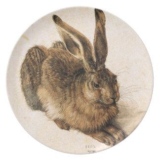 Placa joven de las liebres de Albrecht Durer Plato De Comida