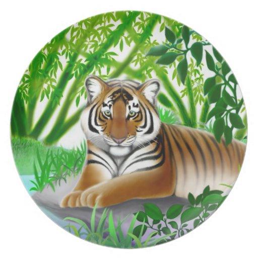 Placa joven pacífica del tigre plato de cena