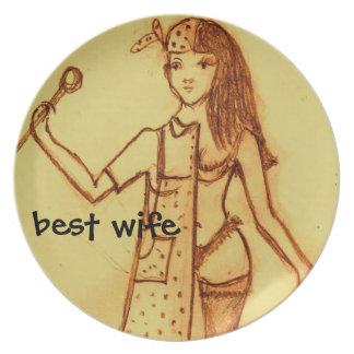 placa, la mejor esposa, interior, afuera plato de cena