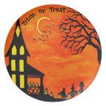 """Placa la """"mejor noche del fiesta de Halloween del  Plato De Comida"""