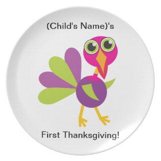Placa - la primera acción de gracias de encargo de plato para fiesta