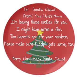 Placa - las galletas de Santa - zanahorias para el Plato Para Fiesta