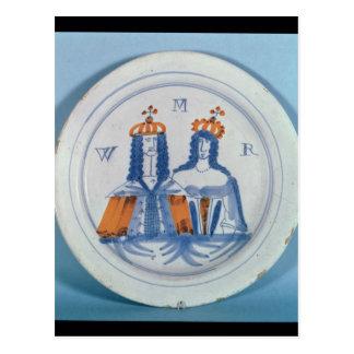 placa Lata-esmaltada de la loza de barro, Lambeth, Postales